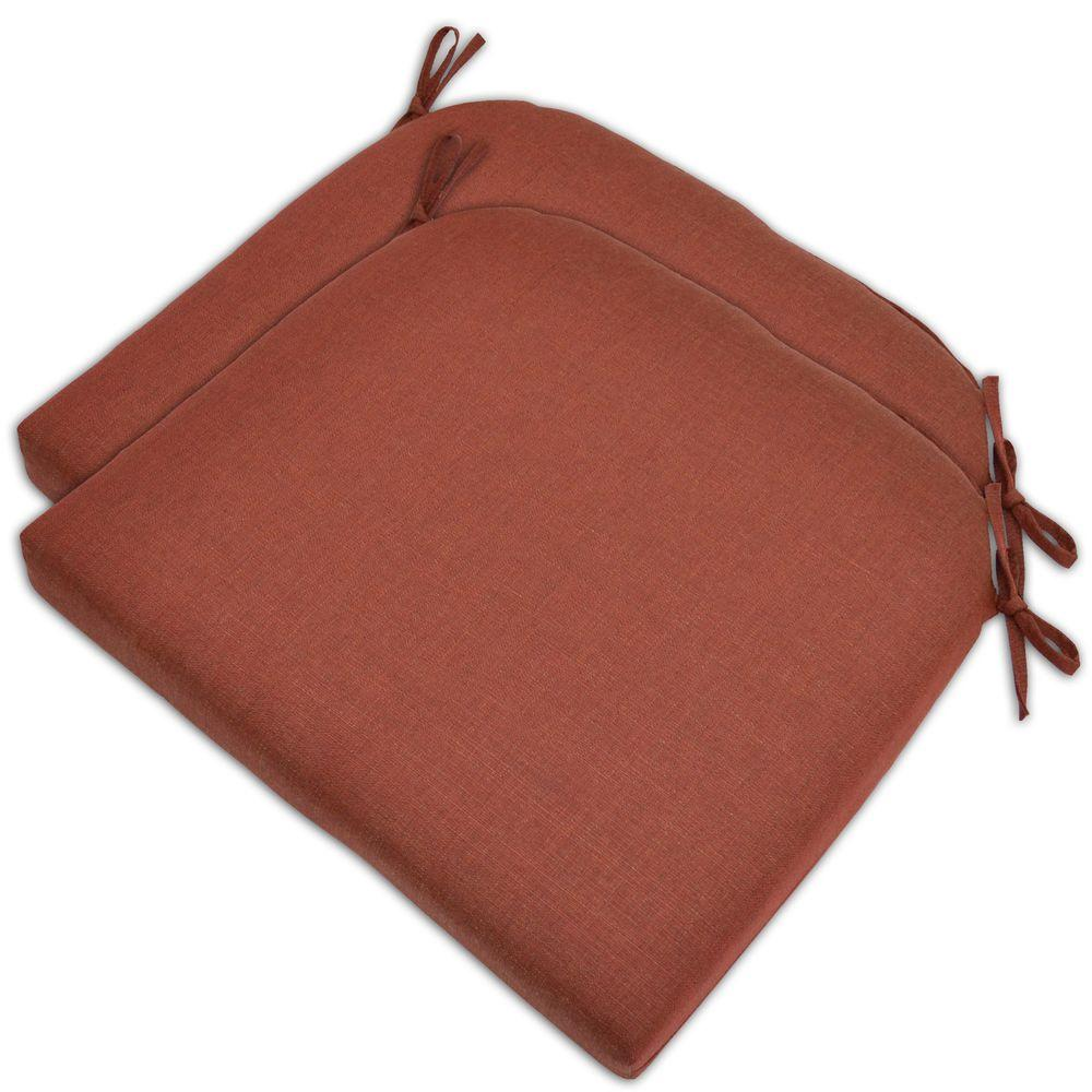 Hampton Bay Red Textured Outdoor Seat Pad (2-Pack)