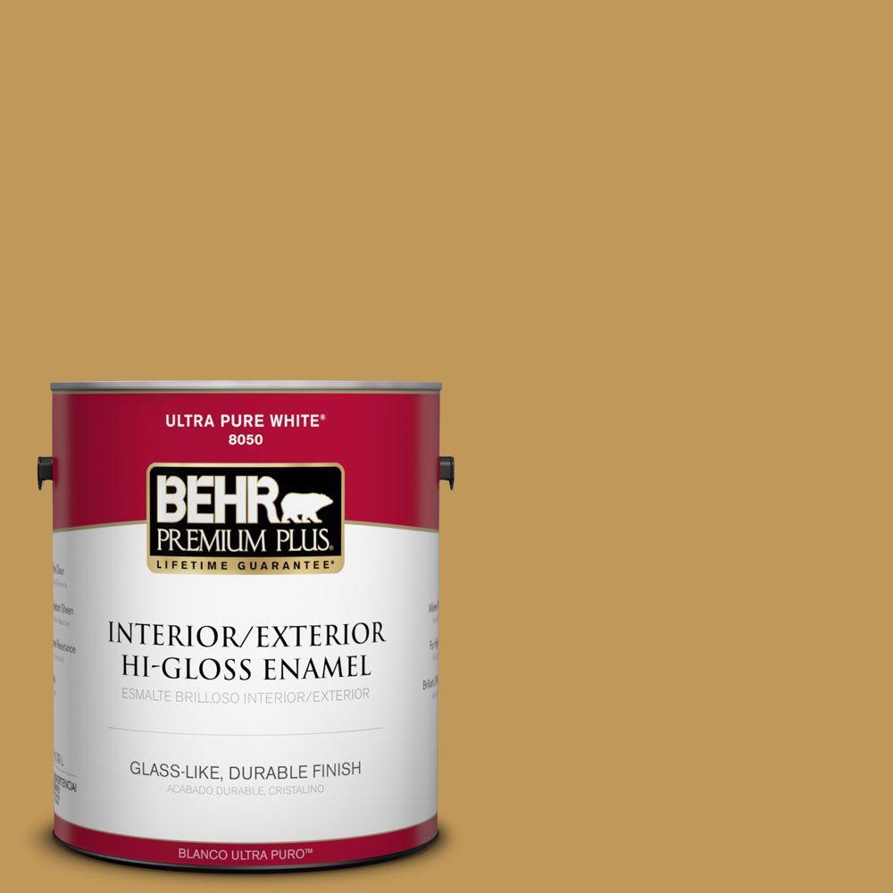 1-gal. #330D-6 Townhouse Tan Hi-Gloss Enamel Interior/Exterior Paint