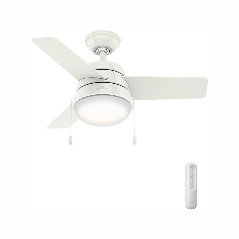 Hunter Aker 36 in. LED Indoor Fresh White Ceiling Fan with Light and bundled Handheld Remote Control