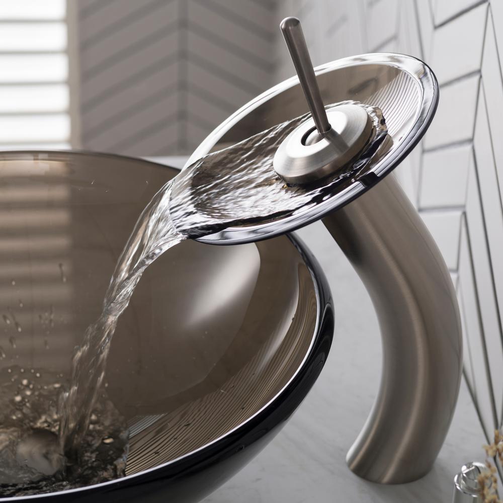 Waterfall Glass Spout Bathroom Basin Vessel Sink Mixer Faucet 1 Handle Hole Taps