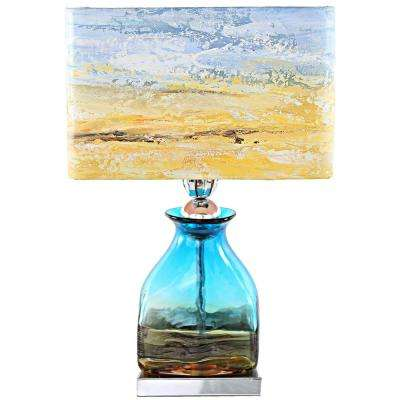 20.75 in. Multi-Colored Indoor Table Lamp with Hand Painted San Diego Sunrise Shade