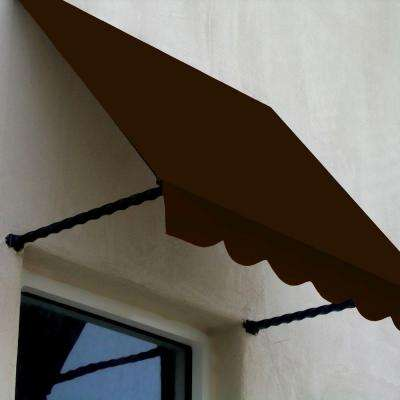 3 ft. Santa Fe Twisted Rope Arm Window Awning (44 in. H x 24 in. D) in Brown