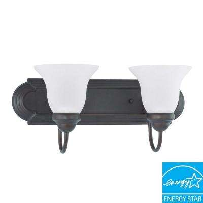2-Light Dark Bronze Fluorescent Wall Vanity Light
