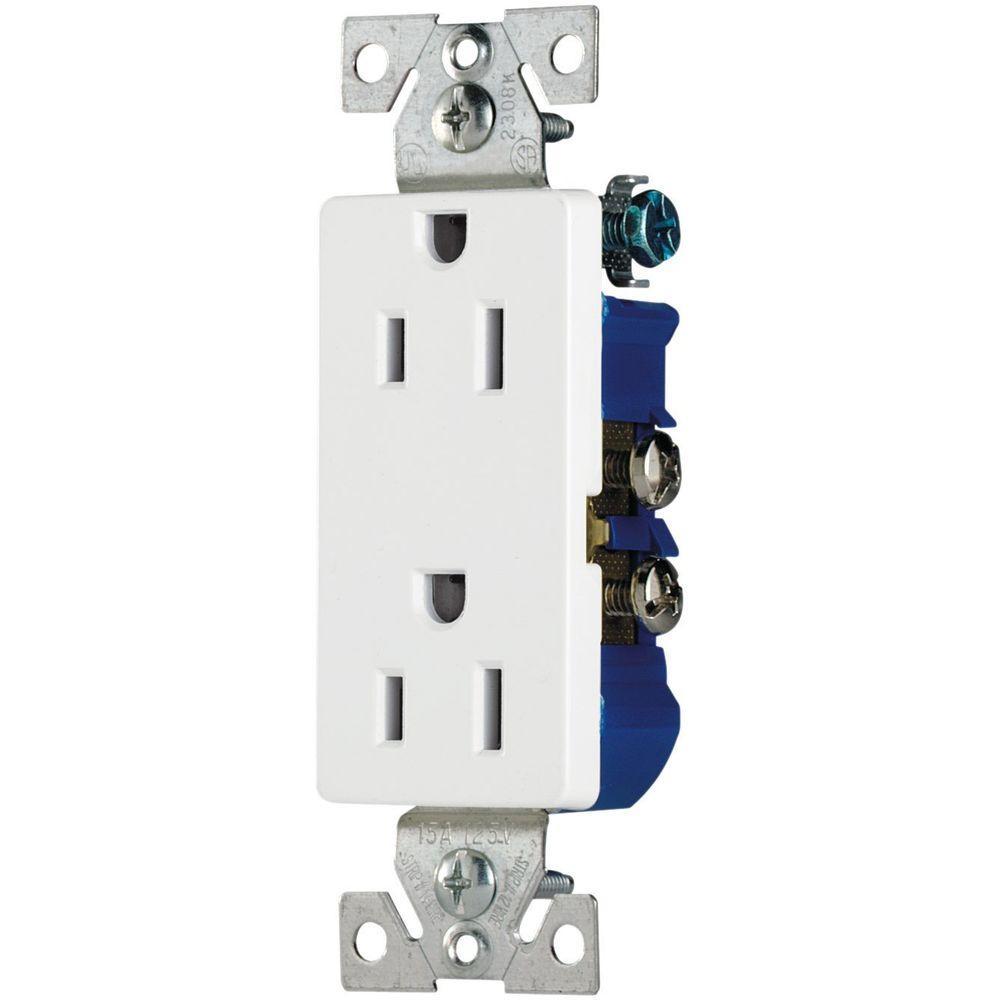 Eaton 15 Amp Decorator Duplex Electrical Outlet - White