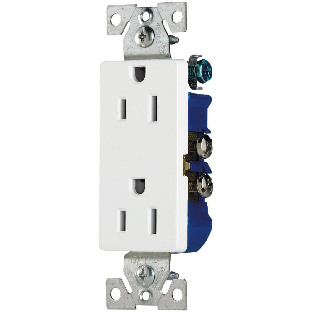 Eaton 15 Amp Decorator Duplex Electrical Outlet - White