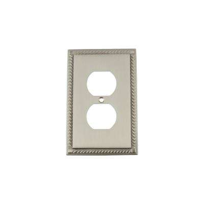 Rope Switch Plate with Outlet in Satin Nickel