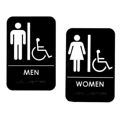 9 in. x 6 in. Black Men and Women Braille Handicapped Restroom Sign (2-Pack)