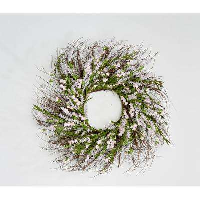 22 in. Lavender Wreath on Twig Base in Pink