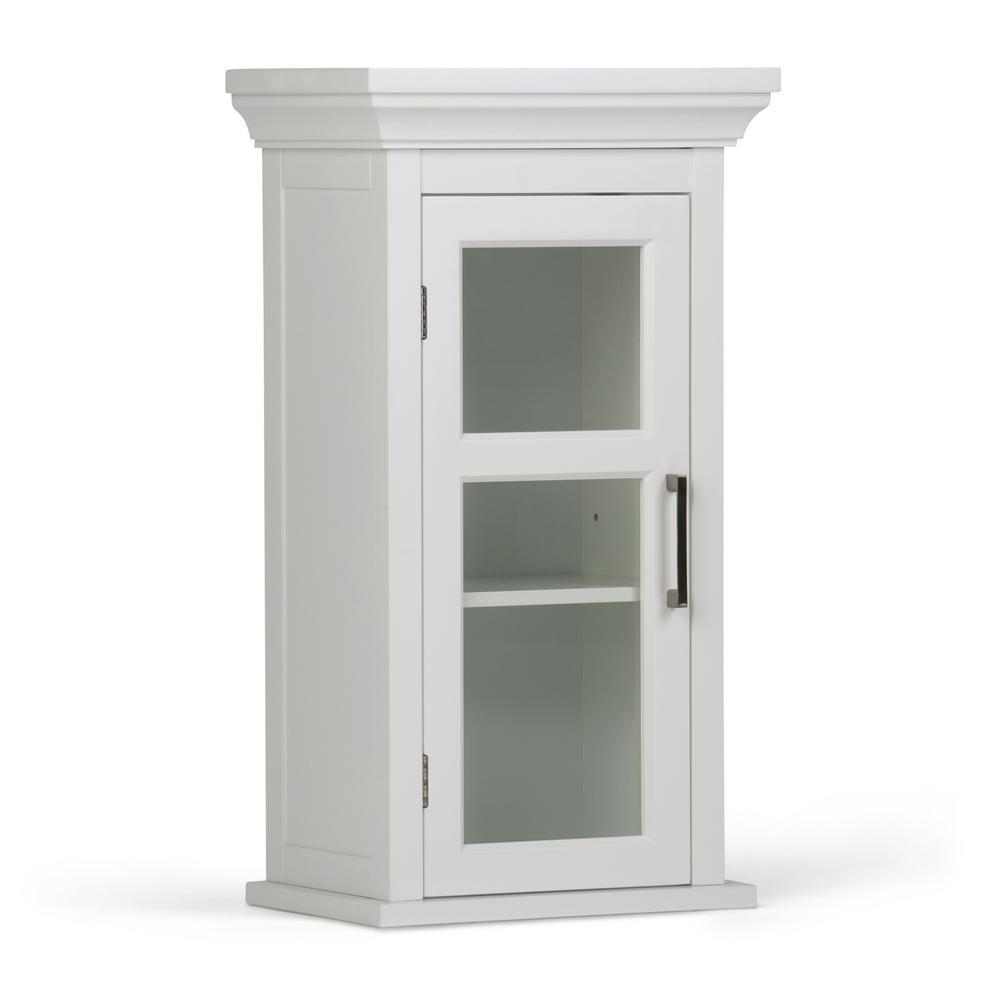 Simpli Home Avington 15 In W X 27 H 10 D Wall Bath Cabinet With Cubbies White