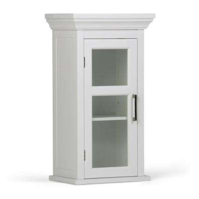 Avington 15 in. W x 26-4/5 in. H x 10 in. D Bathroom Storage Wall Cabinet with Tempered Glass Door in White