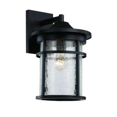 1-Light Black Outdoor Crackled Outdoor Wall Lantern