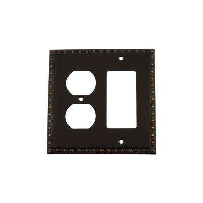 Egg and Dart Switch Plate with Rocker and Outlet in Timeless Bronze