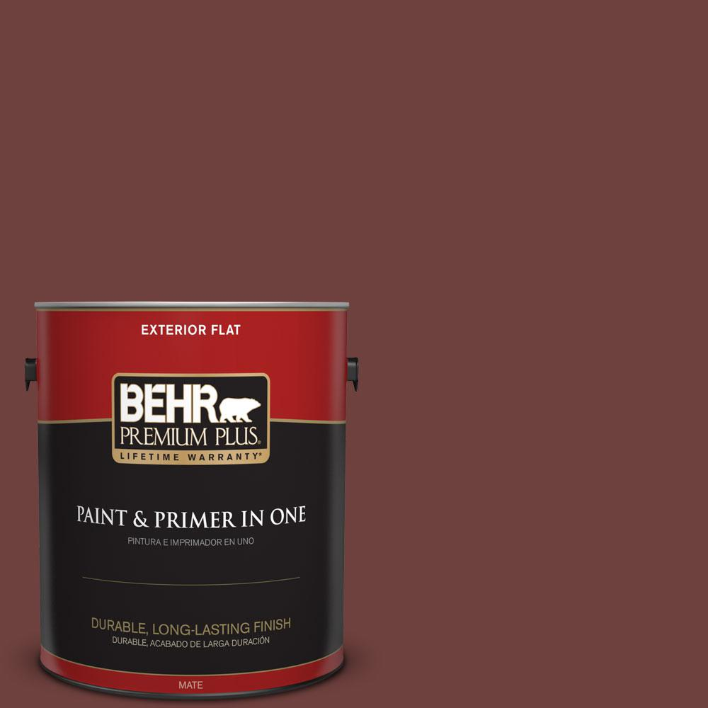 BEHR Premium Plus 1-gal. #ICC-82 Library Red Flat Exterior Paint