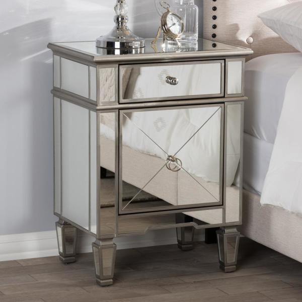 Claudia 2-Drawer Silver Metallic Nightstand