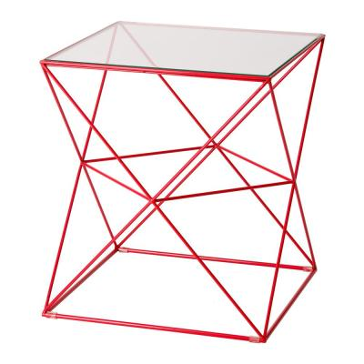 Harliquin Red Metal Outdoor Side Table with a Glass Top