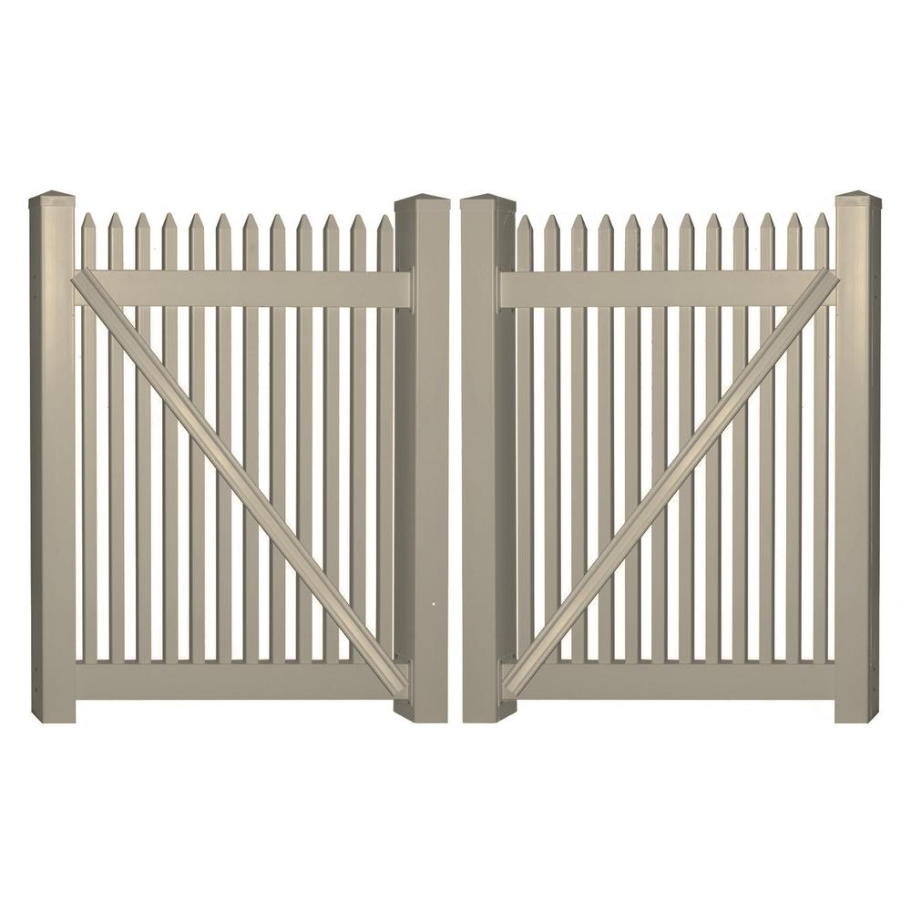 Weatherables Hartford 8 ft W x 4 ft H Khaki Vinyl Picket Fence