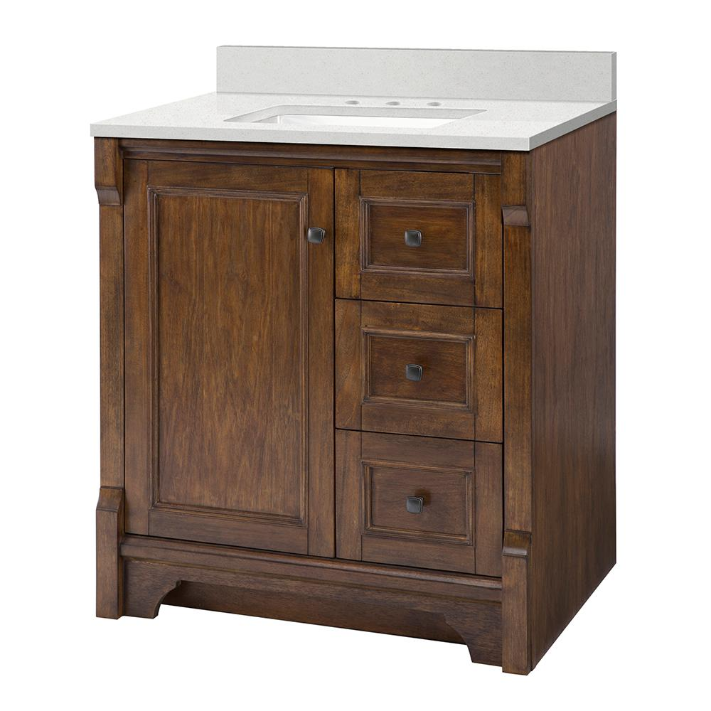Home Decorators Collection Creedmoor 31 in. W x 22 in. D Vanity Cabinet in Walnut with Engineered Marble Vanity Top in Snowstorm with White Sink