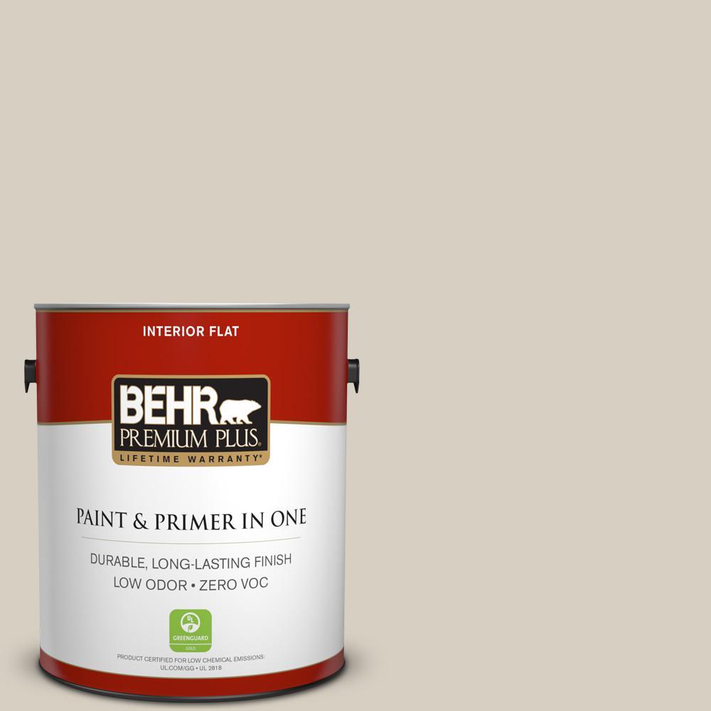 1 gal. #PPU7-09 Aged Beige Zero VOC Flat Interior Paint