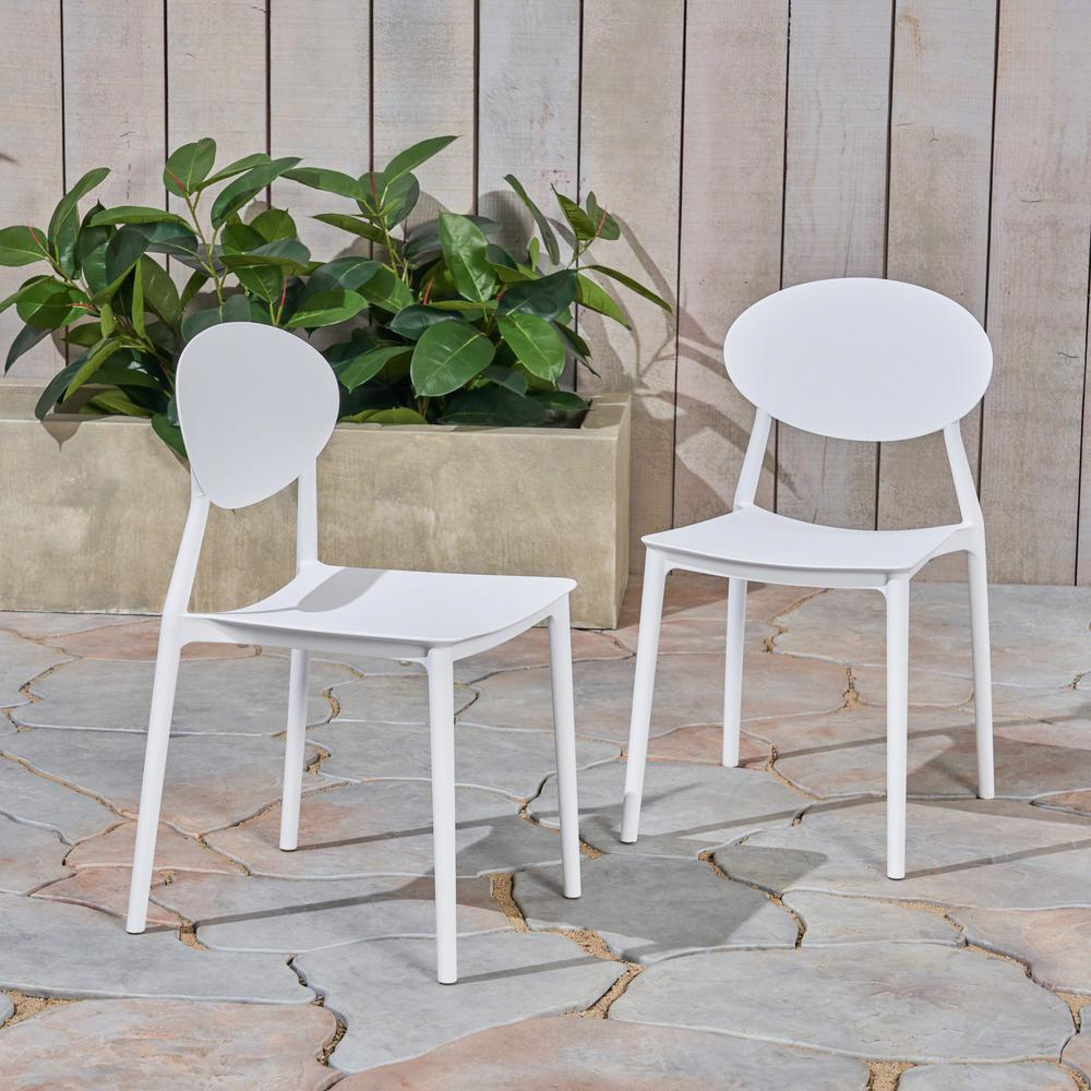 Magnificent Noble House Westlake White Armless Plastic Outdoor Dining Chairs 2 Pack Machost Co Dining Chair Design Ideas Machostcouk