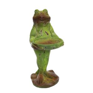 Alpine Frog with Birdbath Statue by Alpine