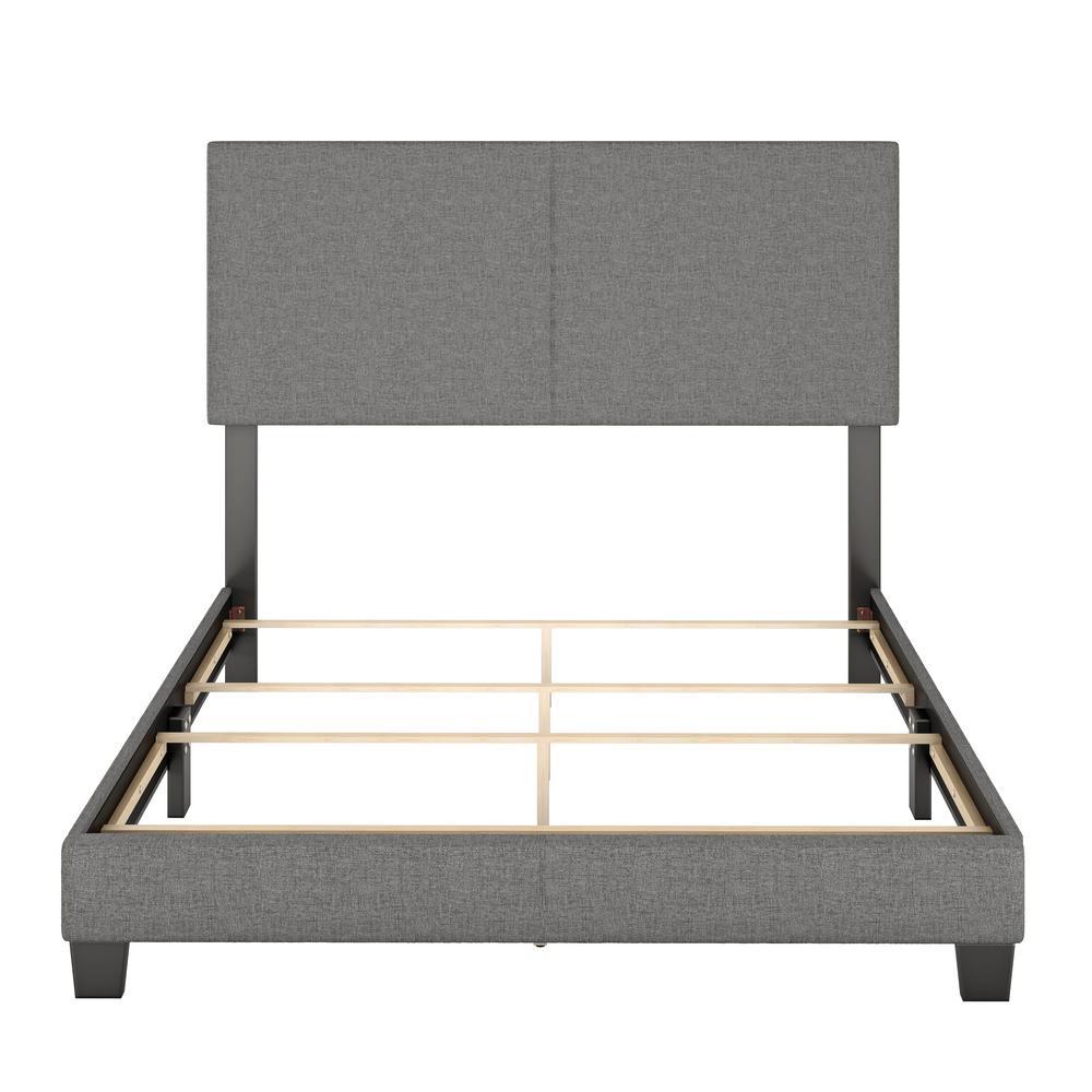 Barrett Queen Grey Linen Upholstered Platform Bed