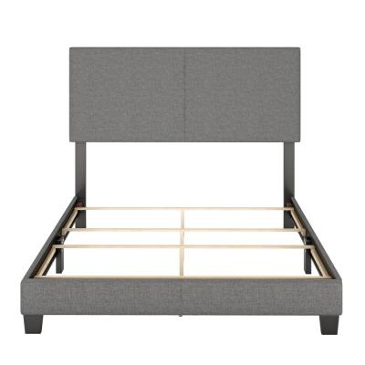 Barrett Queen Grey Linen Upholstered Platform Bed