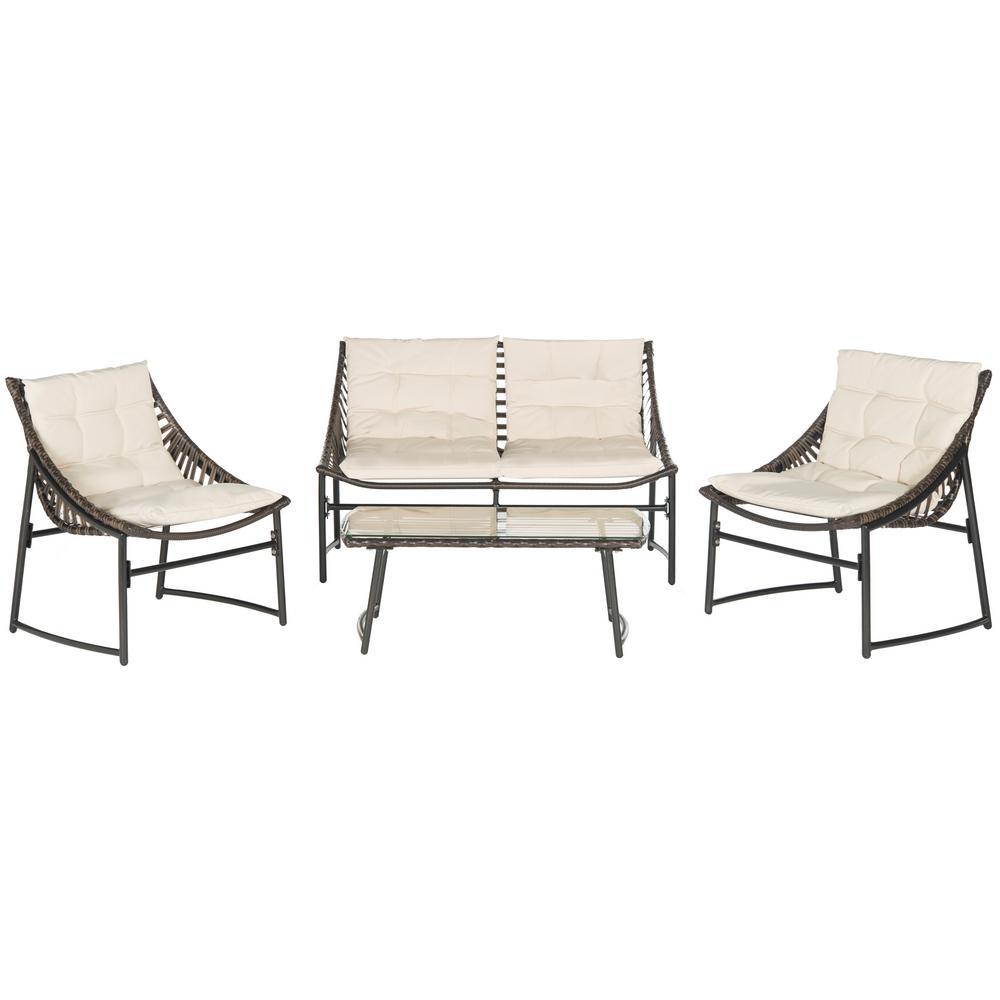Safavieh Berkane Brown 4-Piece Wicker Patio Conversation Set with Beige Cushions