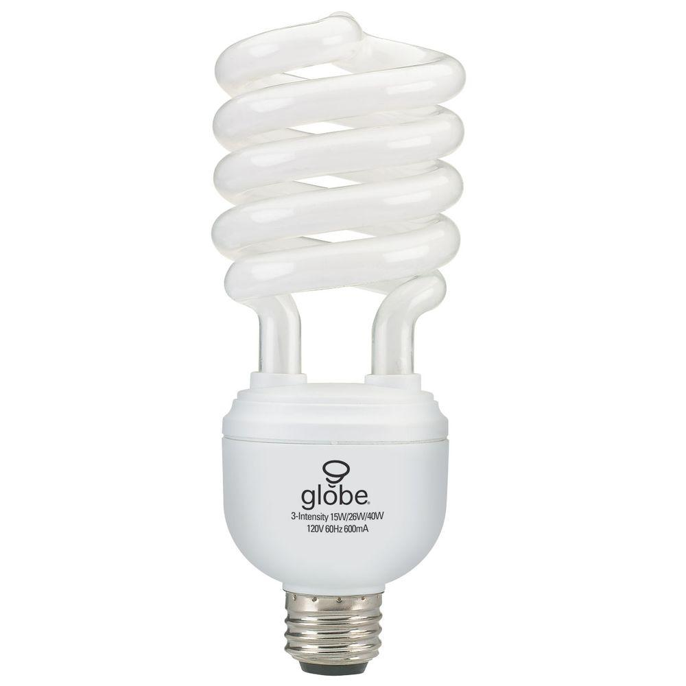 Globe Electric 50/100/150W Equivalent Trilight Soft White  T4 Medium Base CFL Light Bulb