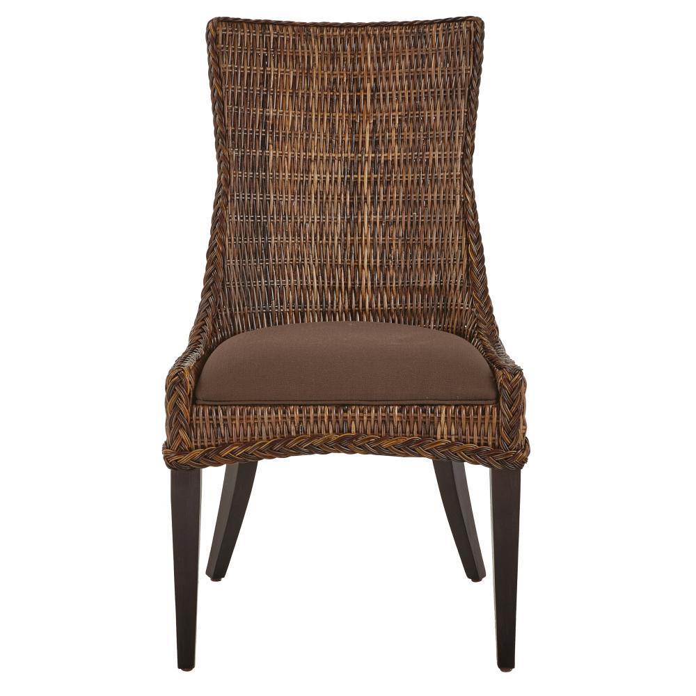 Genie Brown Weave Wicker Dining Chair (Set of 2)
