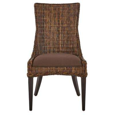 Genie Brown Weave Wicker Dining Chair (Set of 2)