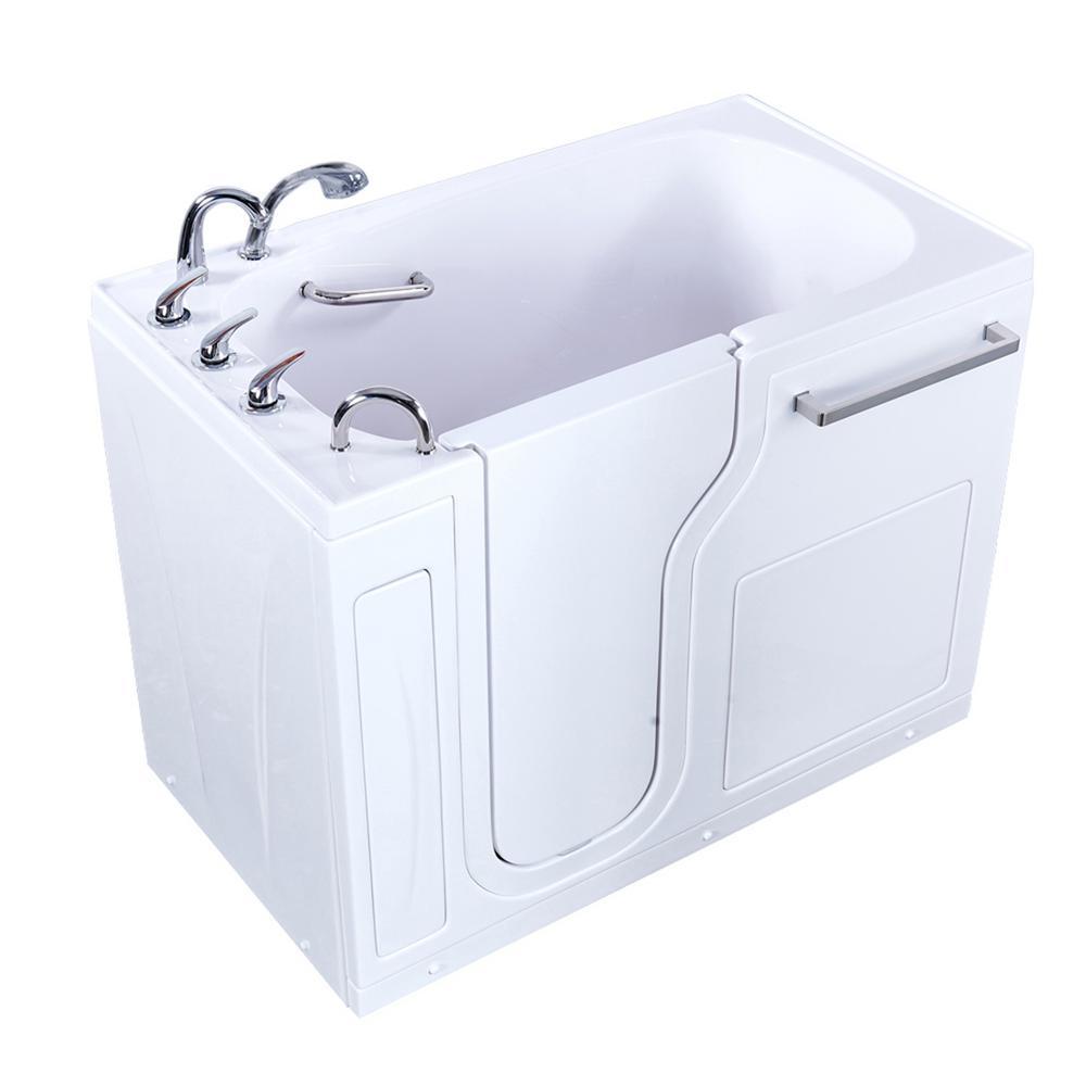 Aqua 52 in. Acrylic Walk-In Soaking Bathtub in White with Left Door, Fast Fill 3/4 in. Faucet, 2 in. Left Drain