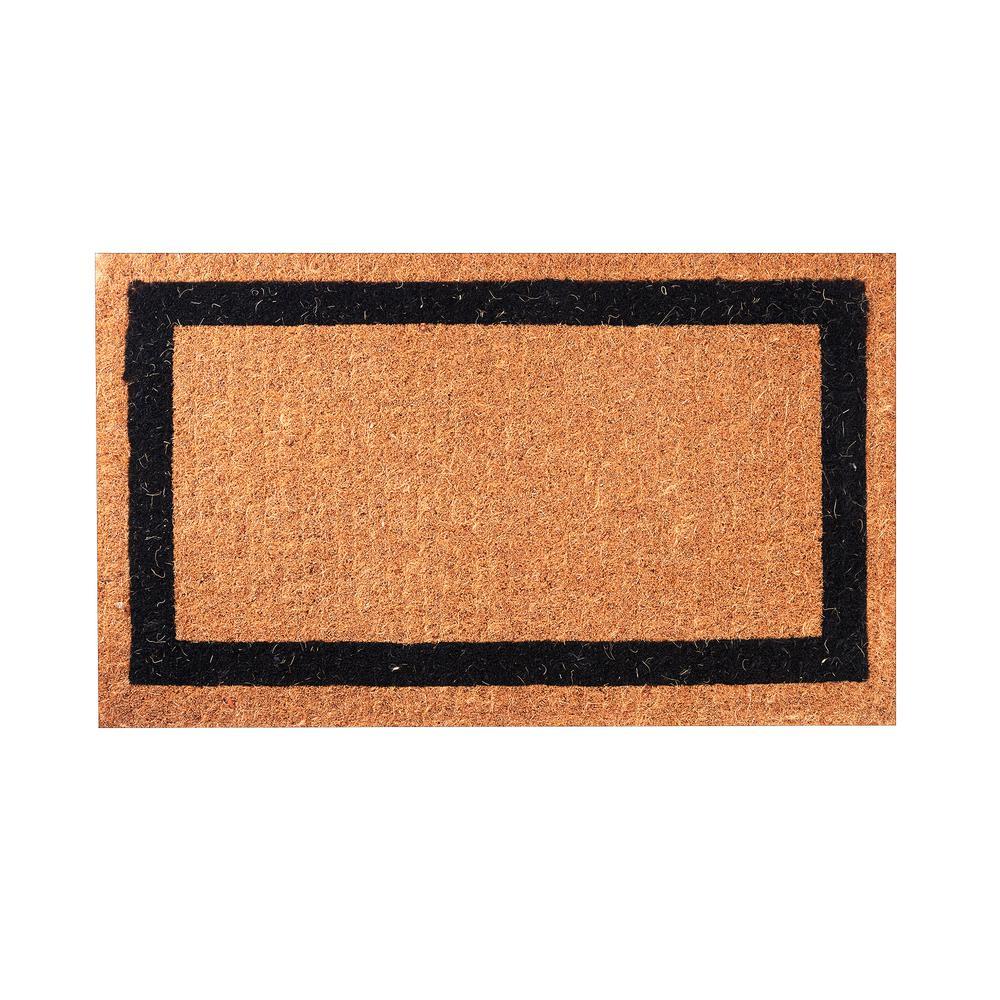 Black Classic Border 30 in. x 18 in. Coir Door Mat