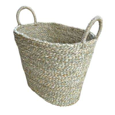 16 in. Natural Wood Seagrass Basket
