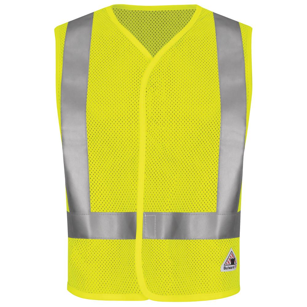 Men's Medium Yellow/Green Hi-Visibility Flame-Resistant Mesh Safety Vest
