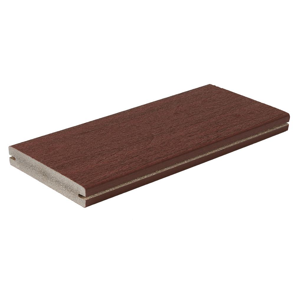 Fiberon Symmetry 1 in. x 5-2/5 in. x 1 ft. Cinnabar Grooved Edge Capped Composite Decking Board Sample