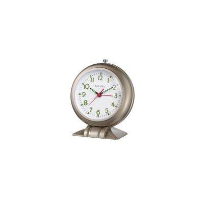6.5 in. H x 5.5 in. W Classic Alarm Clock With Cast Metal Base in Satin Pewter