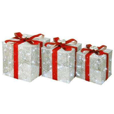 12 in. x 14 in. x 16 in. Pre-Lit Crystal Champagne Gift Box Assortment