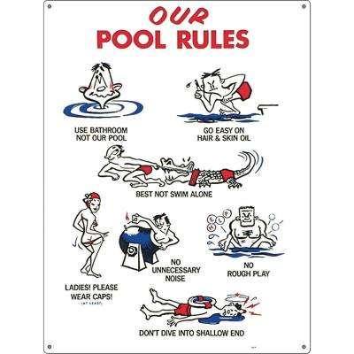 Residential or Commercial Swimming Pool Signs, Our Pool Rules Animation