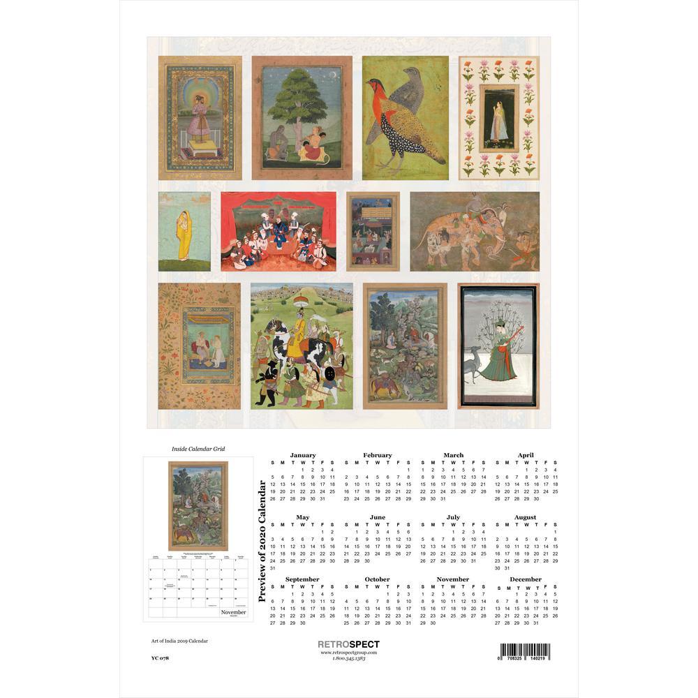 19 in. H x 12.5 in. W The Art of India - 2019 Calendar