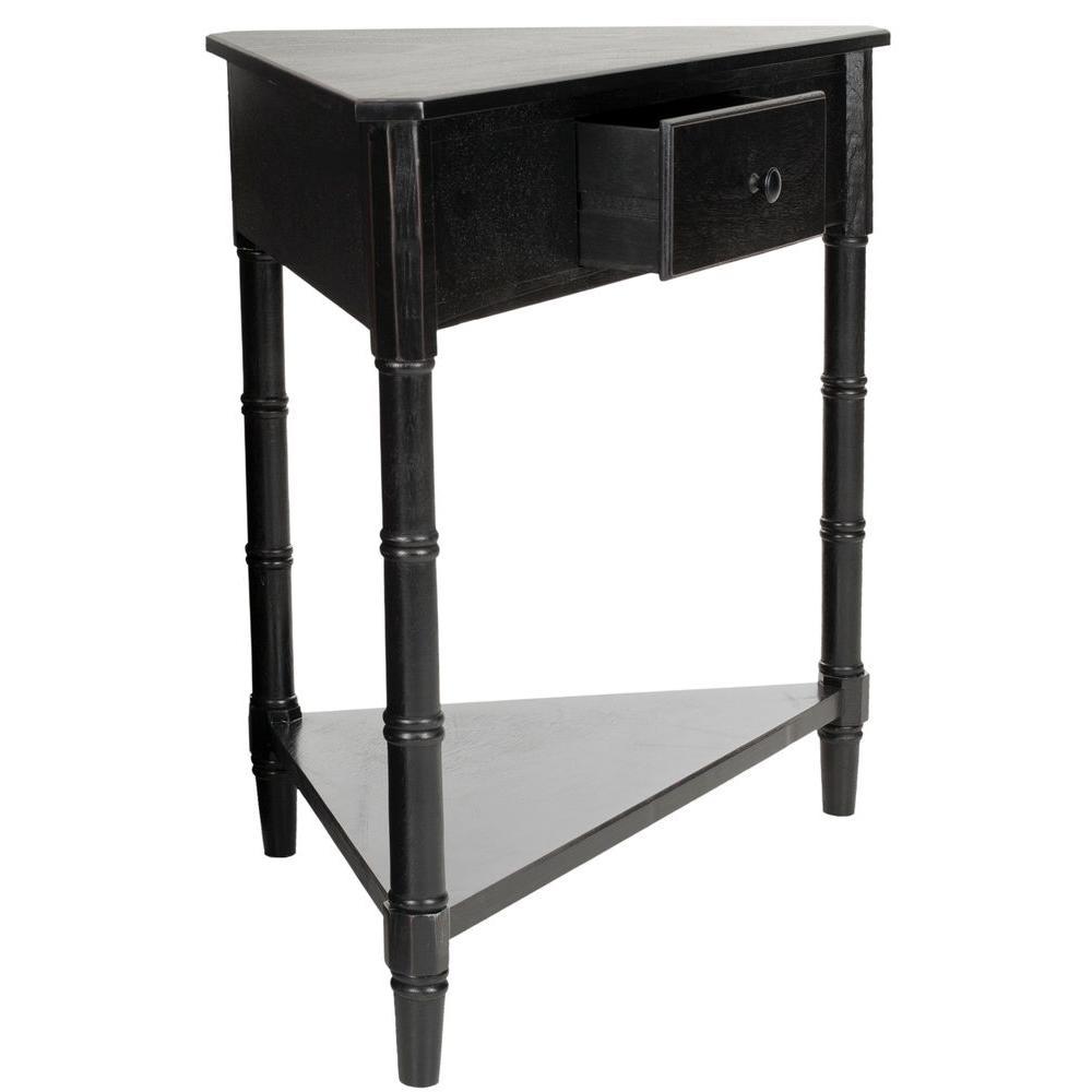 Internet #204507102. Safavieh Gomez Distressed Black Storage Console Table