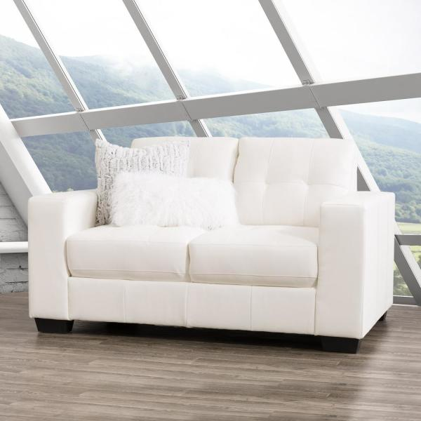 CorLiving Club Tufted White Bonded Leather Loveseat LZY-111-L