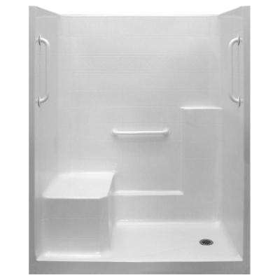 Ultimate-W 33 in. x 60 in. x 77 in. 1-Piece Low Threshold Shower Stall in White, Grab Bars, LHS Molded Seat, Right Drain