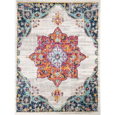 Aurora Multicolored 8 ft. x 10 ft. Medallion Area Rug