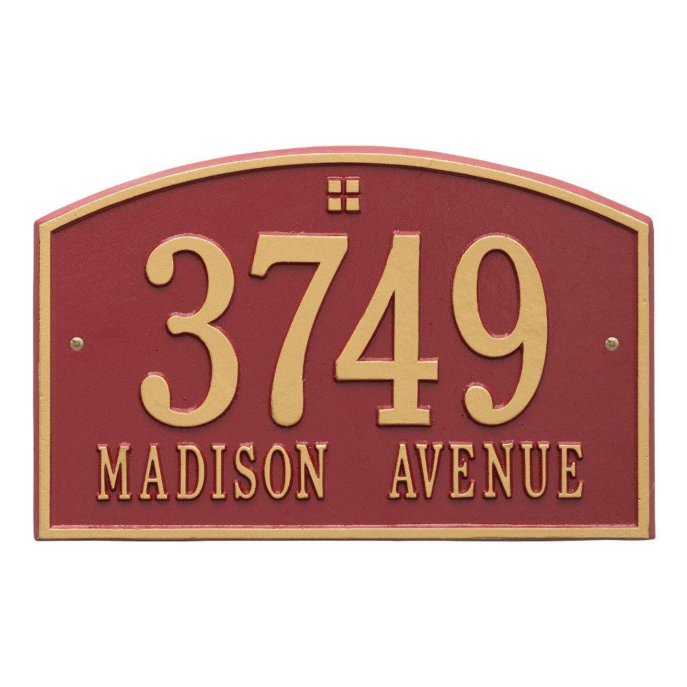 Cape Charles Standard Rectangular Red/Gold Wall 2-Line Address Plaque