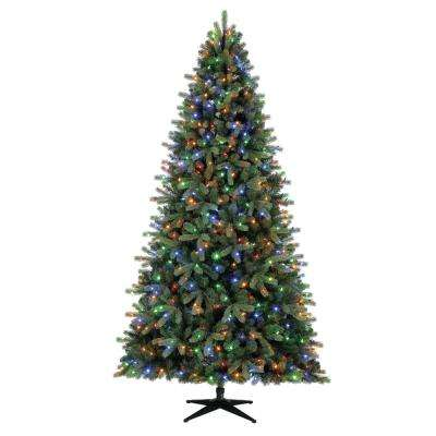 9 ft. Pre-Lit LED Overland Pine Artificial Christmas Tree with 600 SureBright Color-Changing Lights