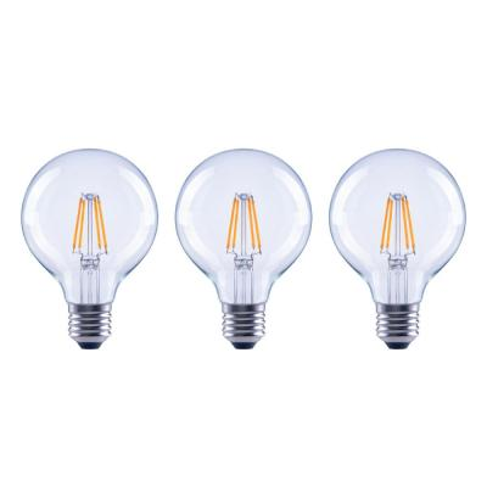 60-Watt Equivalent G25 Globe Dimmable Energy Star Clear Glass Filament Vintage Style LED Light Bulb Soft White (3-Pack)