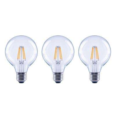 60-Watt Equivalent G25 Globe Dimmable Energy Star Clear Glass Filament Vintage Style LED Light Bulb Soft White (3-Pack)
