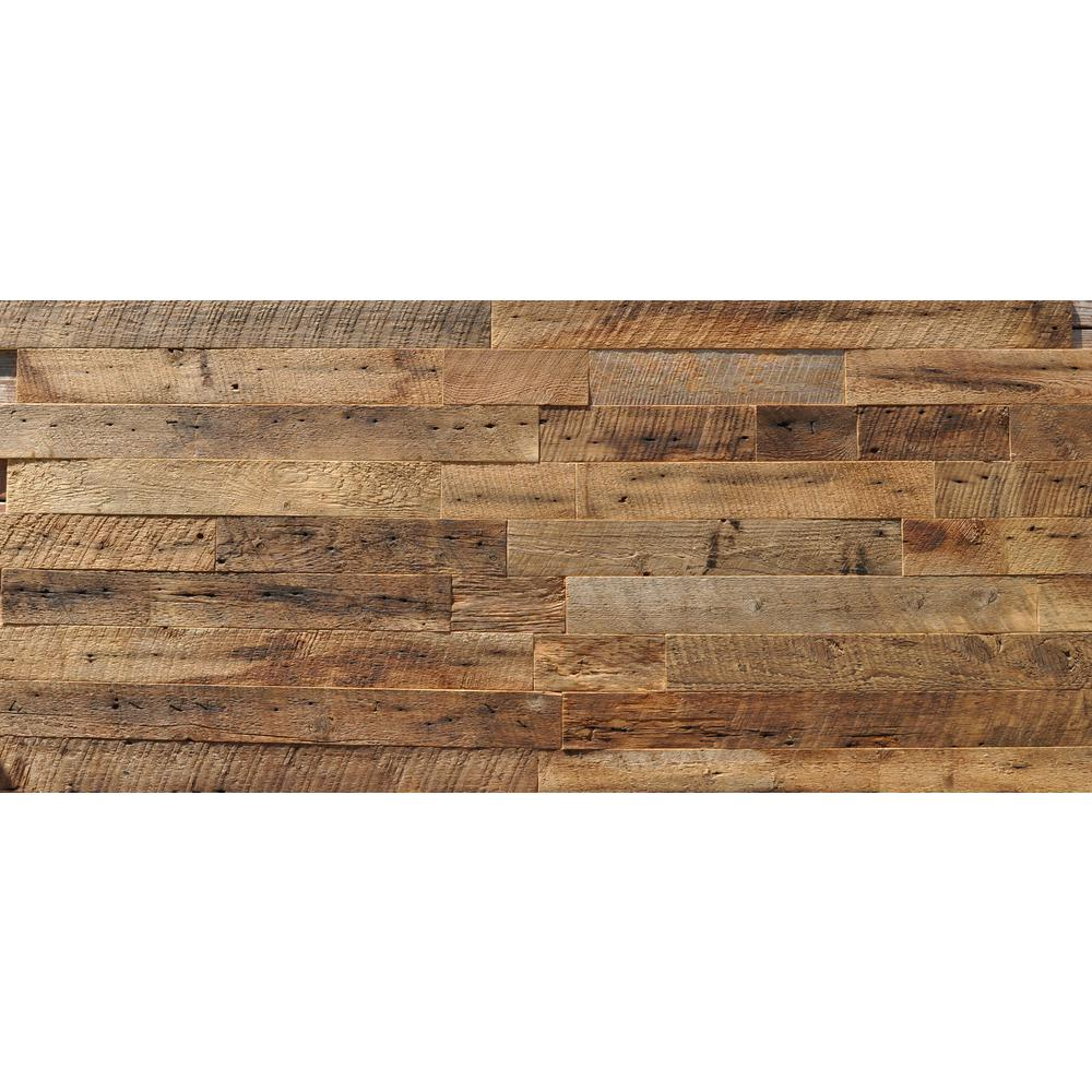 Barn Door Accent Wall Wood Planks: Reclaimed Barn Wood Brown 3/8 In. Thick X 3.5 In. Width X