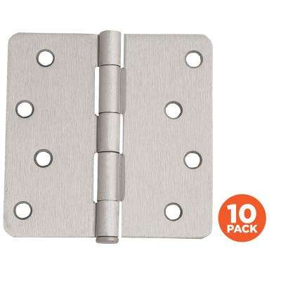 4 in. x 1/4 in. Radius Satin Nickel Door Hinge Value Pack (10 per Pack)