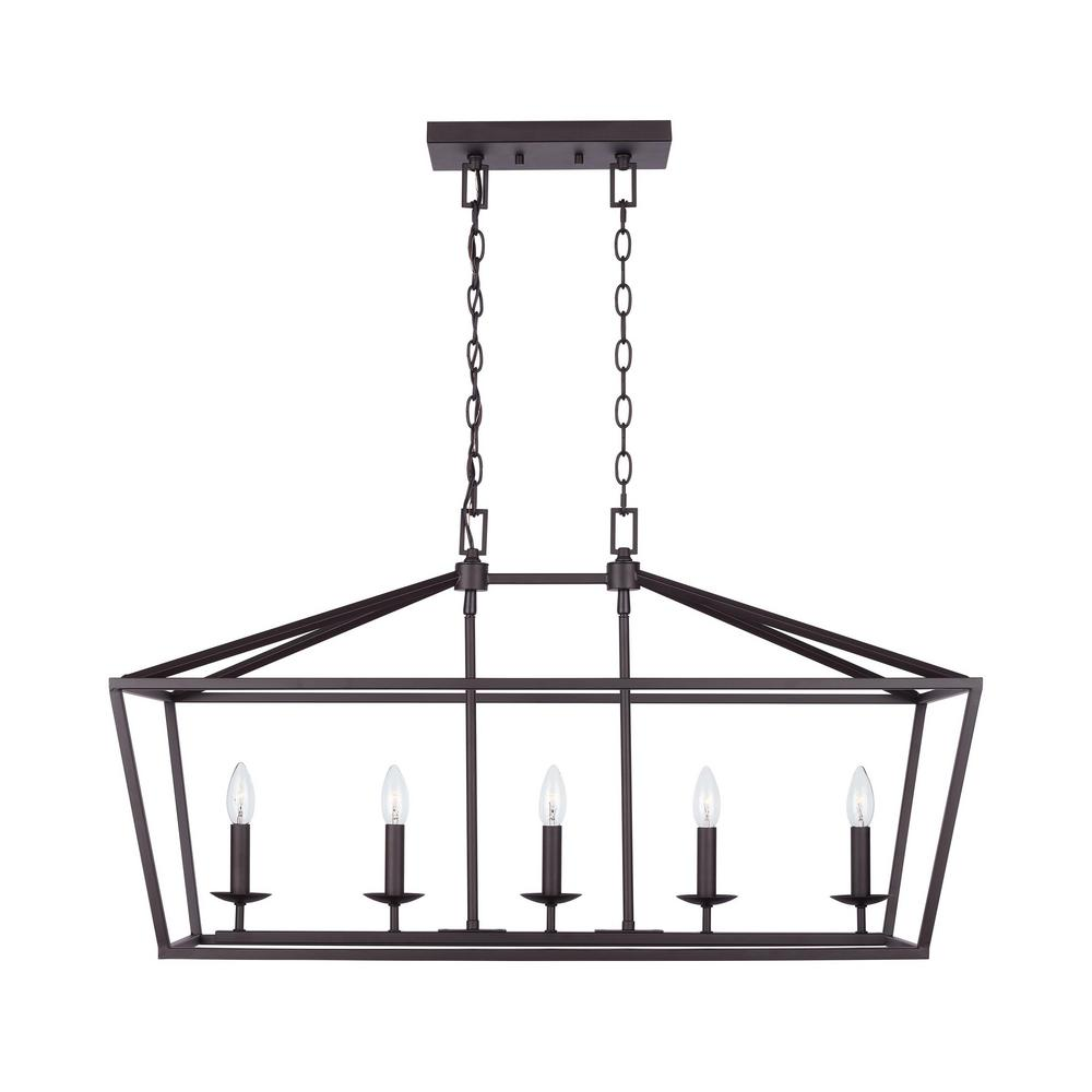 Weyburn 5 Light Bronze Caged Island Chandelier by Home Decorators Collection